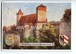 """III. Reich - farbige Propaganda-Postkarte - """" Nürnberg - die Stadt der Reichsparteitage - Fünfeckiger Turm ( 11. Jahrhundert ) mit Kaiserstallung """""""