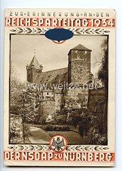 """III. Reich - farbige Propaganda-Postkarte - """" Zur Erinnerung an den Reichsparteitag 1934 der NSDAP zu Nürnberg - Kaiserstallung """""""