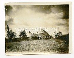1. Weltkrieg Fliegertruppe, Zelt vom Sturm weggerissen Erst. FliegerAbt. 211