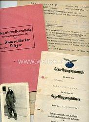 Luftwaffe - Verleihungsurkunde für das Abzeichen für Segelflugzeugführer mit weiteren Dokumenten