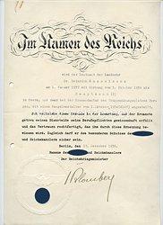 III. Reich - Originalunterschrift von Reichskriegsminister Werner von Blombergauf einer Anstellungsurkunde