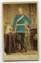 Preußen kleines Kabinettfoto eines Soldaten im 2. Garde-Dragoner Regiment Kaiserin Alexandra v. Rußland