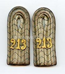 Preußen 1. Weltkrieg Paar Schulterstücke für einen Leutnant imReserve-Infanterie-Regiment Nr. 213