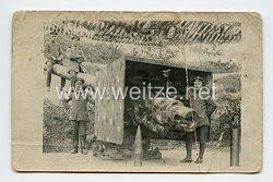 Deutsches Kaiserreich Foto, getarntes Küstengeschütz