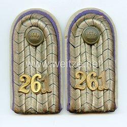 Preußen 1. Weltkrieg Paar Schulterstücke für einen Leutnant imReserve-Infanterie-Regiment Nr. 261
