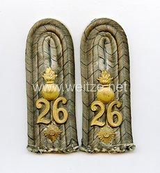Preußen 1. Weltkrieg Paar Schulterstücke für einen Oberleutnant im 2. HannoverschenFeldartillerie-Regiment Nr. 26