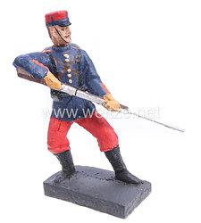 Lineol - 1. Weltkrieg Frankreich Soldat mit Gewehr Tiefstoß Gegenparade