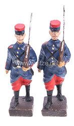 Lineol - 1. Weltkrieg Frankreich 2 Soldaten mit Tornister marschierend