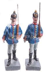 Lineol - 1. Weltkrieg Preußen 2 Soldaten mit Pickelhaube marschierend