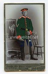 Hessen kleines Kabinettfoto eines Soldaten im Garde-Dragoner-Regiment (1. Großherzoglich Hessisches) Nr. 23