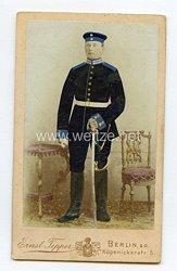 Preußen kleines Kabinettfoto eines Soldaten im Garde-Train-Bataillon
