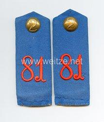 Preußen Paar Schulterklappen für Mannschaften im Infanterie-Regiment Landgraf Friedrich I. von Hessen-Cassel (1. Kurhessisches) Nr. 81