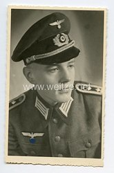 Wehrmacht Heer Portraitfoto, Oberfeldwebel mit Schirmmütze