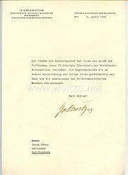 III. Reich - Originalunterschrift von Albert Gollwitzer als Direktor der Deutschen Reichsbahn und Präsident der Reichsbahndirektion München