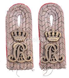 Preußen 1. Weltkrieg Paar Schulterstücke feldgrau für einen Leutnant im Thüringischen Ulanen-Regiment Nr. 6