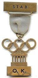 XI. Olympischen Spiele 1936 Berlin - Offizielles Teilnehmerabzeichen eines Angehörigen des Stabes des Organisations-Komitee