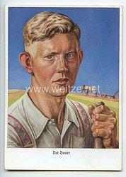 "III. Reich / RAD - farbige Propaganda-Postkarte - "" Der Bauer """