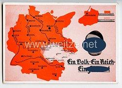 """III. Reich / Tschechoslowakei - farbige Propaganda-Postkarte - """" Ein Volk - Ein Reich - Ein Führer !  """""""