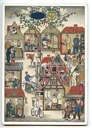 """III. Reich - farbige Propaganda-Postkarte - """" Reichshandwerkertag 1936 - Arbeit und Ehre """""""