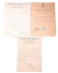 Königreich Italien - Konvolut verschiedener Dokumente von 1907 bis 1920