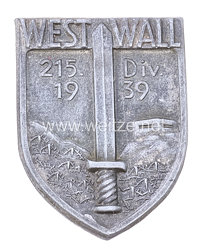 """Wehrmacht Heer - Mützenabzeichen für Angehörige der 215. Division """" Westwall 1939 """""""