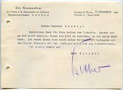 Heer - Originalunterschrift von Ritterkreuzträger Oberstleutnant Hans Becker