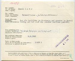 Datenblatt zur Verleihung der kroatischen Eisernen Zvonimir-Medaille am Kriegsband