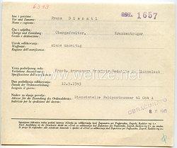 Datenblatt zur Verleihung der kroatischen Bronzenen Zvonimir-Medaille mit Eichenlaub