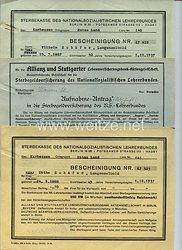 III. Reich - Sterbekasse des Nationalsozialistischen Lehrerbundes - 3 Belege