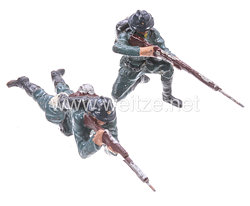 Lineol - Frankreich 2 Soldaten kniend und liegend schießend