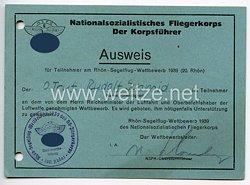 NSFK - Ausweis für Teilnehmer am Rhön-Segelflug-Wettbewerb 1939 ( 20. Rhön )