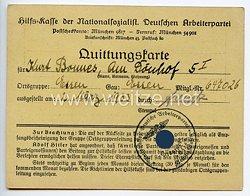 Hilfskasse der NSDAP - Quittungskarte