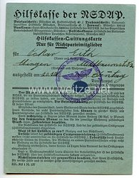 Hilfskasse der NSDAP - Hilfskassen-Quittungskarte für Nichtparteimitglieder
