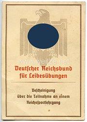 Reichsakademie für Leibesübungen - Bescheinigung über die Teilnahme an einem Reichssportlehrgang