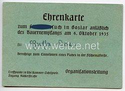III. Reich - Ehrenkarte zum Führerbesuch in Goslar anläßlich des Bauernempfangs am 6. Oktober 1935