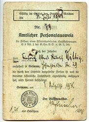 III. Reich - Amtlicher Personalausweis für Führer eines führerscheinfreien Kraftfahrzeuges