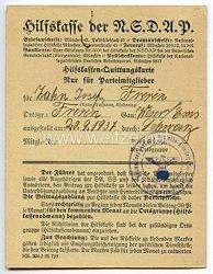 Hilfskasse der NSDAP - Hilfskassen-Quittungskarte für Parteimitglieder