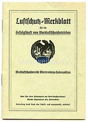 Werkluftschutzbereich Württemberg-Hohenzollern - Luftschutz-Merkblatt für die Gefolgschaft von Werkluftschutzbetrieben