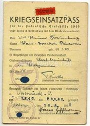 Studentenführung der Höheren Technischen Staatslehranstalt Holzminden - Kriegseinsatzpass für die studentische Erntehilfe 1940