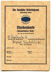 Deutsche Arbeitsfront ( DAF ) Gauverwaltung Baden - Markenkarte ( Bauvorhaben West )