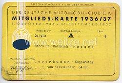 Der Deutsche Automobil-Club e.V. ( DDAC ) - Mitgliedskarte 1936/37