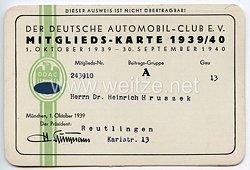 Der Deutsche Automobil-Club e.V. ( DDAC ) - Mitgliedskarte 1939/40