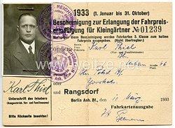III. Reich - Bescheinigung zur Erlangung der Fahrpreisermäßigung für Kleingärtner