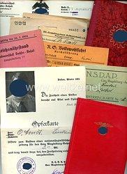 NSDAP - Mitgliedsbuch Nr. 986088, NSDAP-Opferringkarte und weitere Dokumente für einen Mann des Jahrgangs 1886 aus Lindau