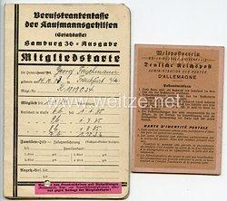 III. Reich - Berufskrankenkasse der Kaufmannsgehilfen Hamburg 36-Ausgabe - Mitgliedskarte