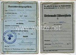 NSKK-Motorschule Gandersheim - Betriebsberechtigungsschein und Wehrmacht-Führerschein