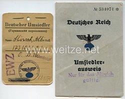 III. Reich - Umsiedlerausweis und Kennkarte für eine Frau des Jahrgangs 1892 aus Rußland
