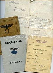Reservelazarett Hameln Abt. Oberschule - Sportbehandlungskarte für einen Obergefreiten