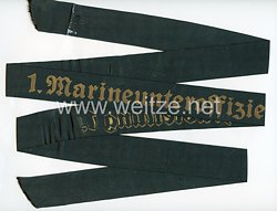 """Kriegsmarine Mützenband """"1. Marineunteroffizierlehrabteilung 1."""""""