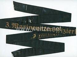 """Kriegsmarine Mützenband """"3. Marineunteroffizierlehrabteilung 3."""""""